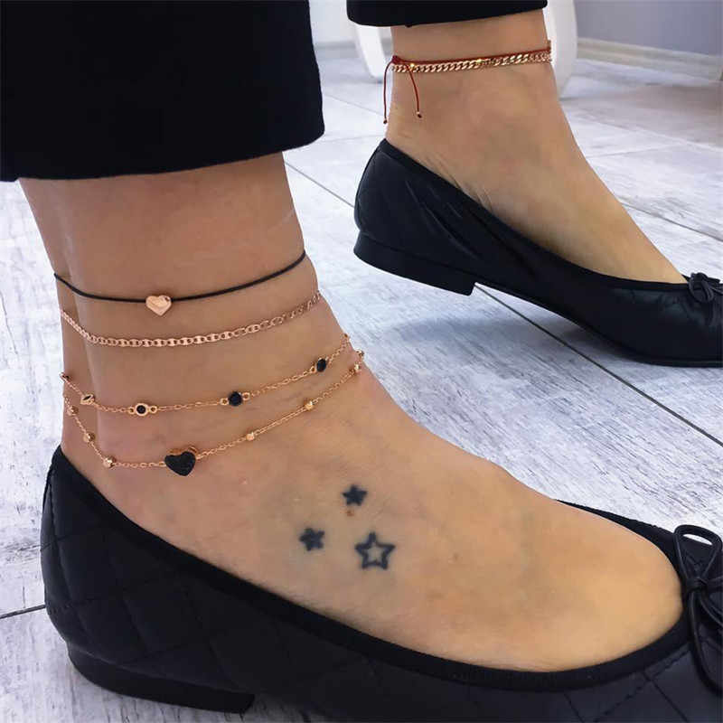 NEWBUY 4pcs/Set Trendy Gold Color Anklets For Women Fashion Bohemian Heart Link Chain Anklet Female Foot Jewelry