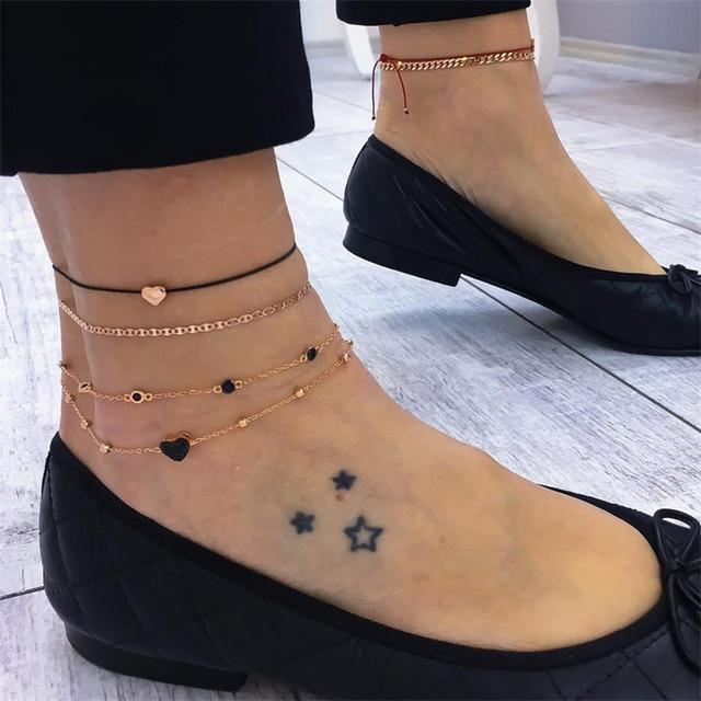 NEWBUY 4 ピース/セット流行のゴールドカラー女性ファッションボヘミアンハートリンクチェーンアンクレット女性の足のジュエリー