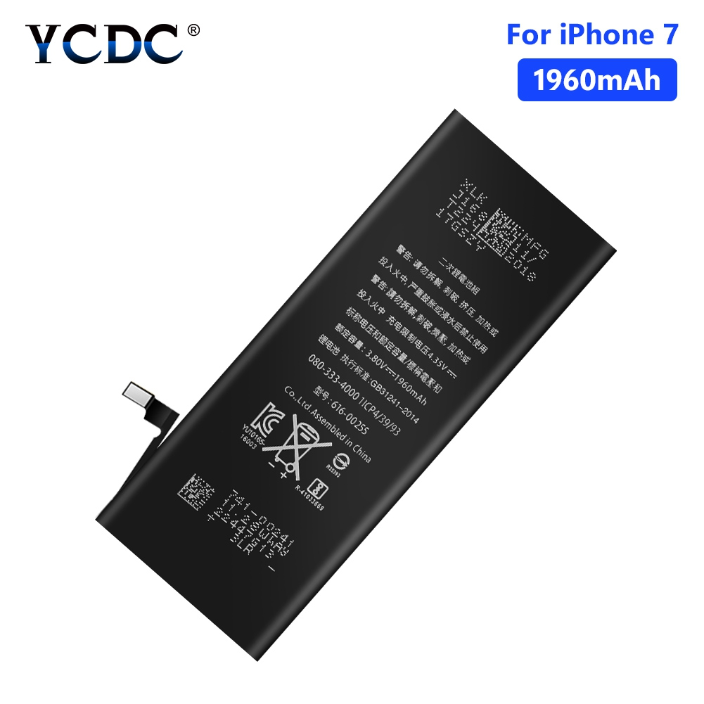 YCDC 3.8V 1960mAh Lithium Polymer Battery For iPhone 7 7G iPhone7 iP7 Rechargeable Mobile Phone Bateria Batteries Free ToolsYCDC 3.8V 1960mAh Lithium Polymer Battery For iPhone 7 7G iPhone7 iP7 Rechargeable Mobile Phone Bateria Batteries Free Tools