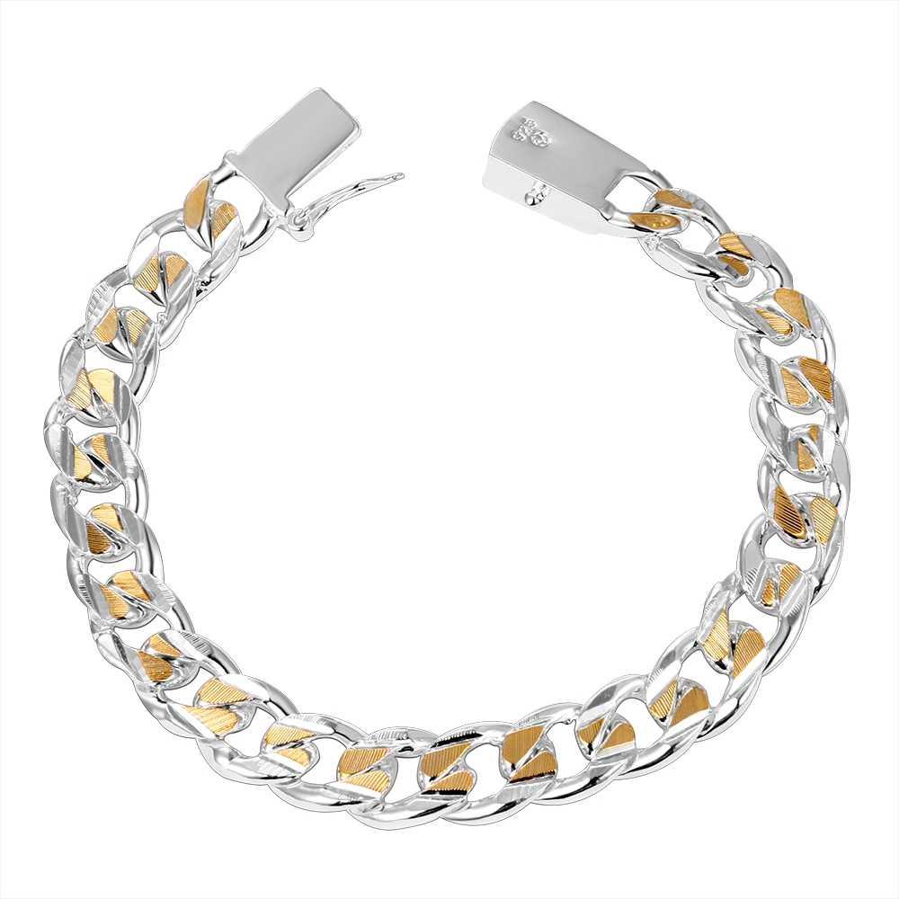 Men's Jewelry bracelet 925 Plated Silver 10mm wide golden thick fine fashion bracelet Pulseiras de Prata male modle Bijoux