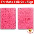 """O Envio gratuito de 9.7 """"para Cube Discussão 9x U65GT Talk9X Capa de Couro PU Capa Protetora para Cube tablet PC filme protetor de tela grátis"""