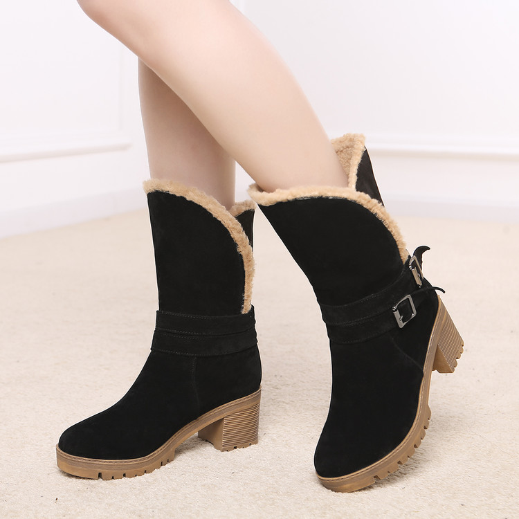Fashion Short Plush Snow Boots Women Wedges Knee-high Slip-resistant Boots Thermal Female Cotton-padded Shoes Warm Winter