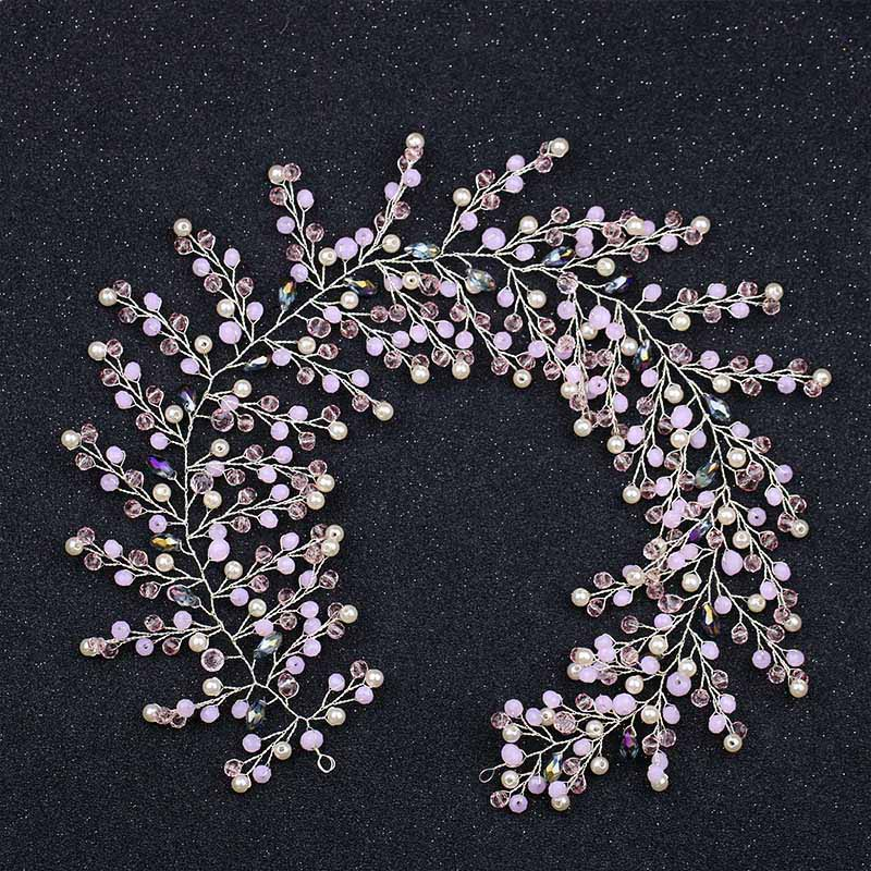 New Arrival Pink Crystal Vine Rhinestone Clusters Lush Hair Vine Bridal Hairband Princess Prom Headpiece Hair Jewelry LB