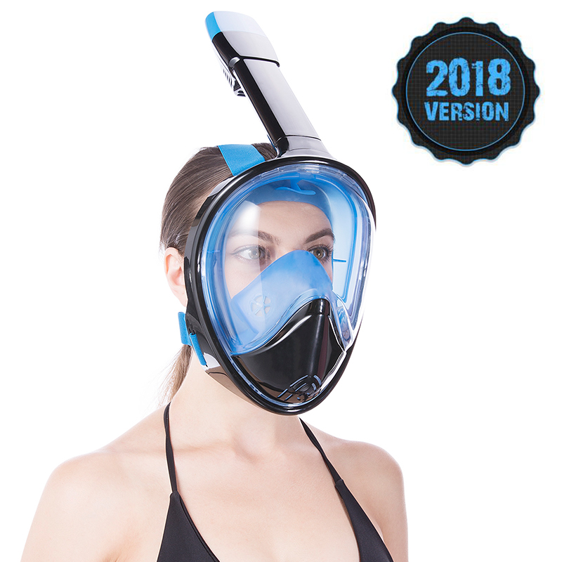 2018 Full Face Snorkeling Masks Panoramic View Anti-fog Anti-Leak Swimming Snorkel Scuba Underwater Diving Mask GoPro Compatible