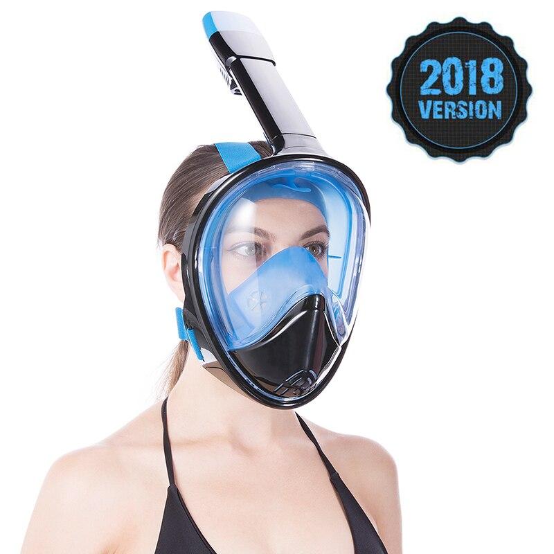 2018 Plein Visage Plongée En Apnée Masques Vue Panoramique Anti-brouillard Anti-Fuite De Natation Tuba Plongée Sous-Marine Masque de Plongée GoPro compatible