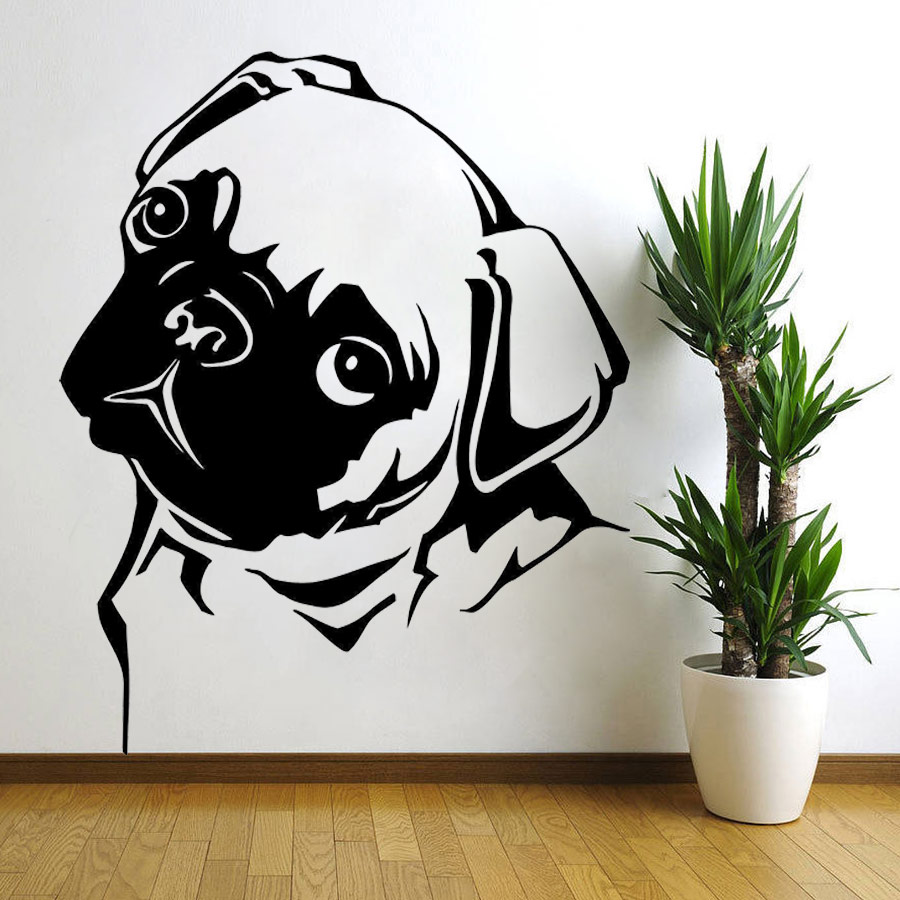 a1a901f9e18 Removable Waterproof Pet Pug Dog Vinyl Wall Art Sticker Animal Decal Pet Vinyl  Mural Home Decor Wall Sticker Puppy 56X70CM