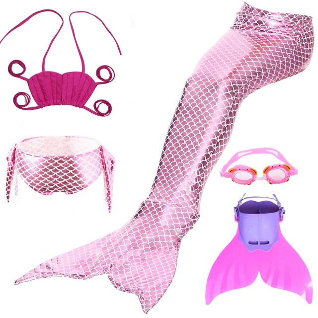 19de455352345 4PCS/Set KWD Little Mermaid Tails for Swimming Costume Mermaid Tail Cosplay  Girls Swimsuit Kids Children Swimmable suit Monofin