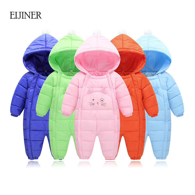 Cartoon Cat Baby Rompers Winter Warm Baby boy Clothes Long Sleeve Hooded Jumpsuit Kid Newborn Outwear Children Snowsuit Jumpsuit warm thicken baby rompers long sleeve organic cotton autumn