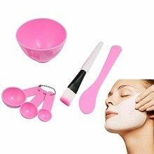 New 1Set DIY Homemade Mask Bowl Gauge Spoons Brush Appliances Set Pink For Women Grooming