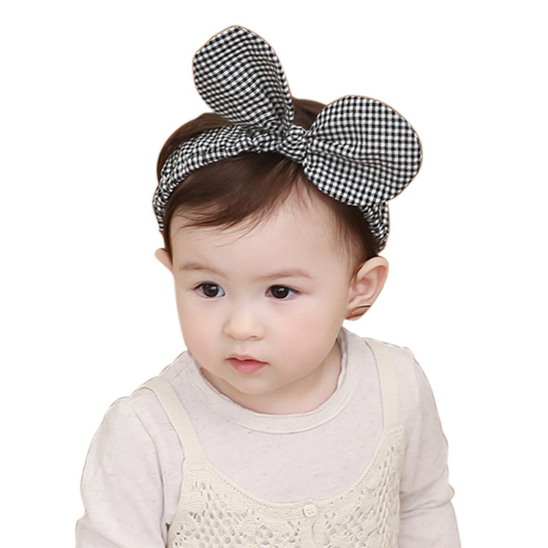 Hot Plaid Big Bow-knot Hair Band Kids Baby Headwear Headband Toddler Girls Accessories