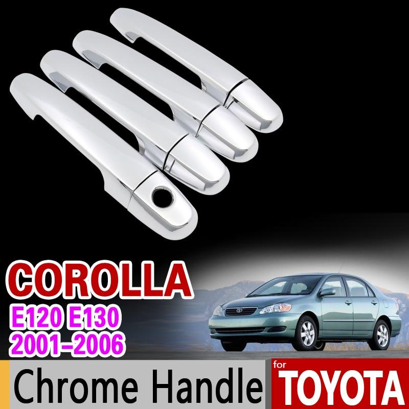 For Toyota Corolla 2001 - 2006 Chrome Handle Cover Trim Set E120 E130 2002 2003 2004 2005 Car Accessories Sticker Car Styling