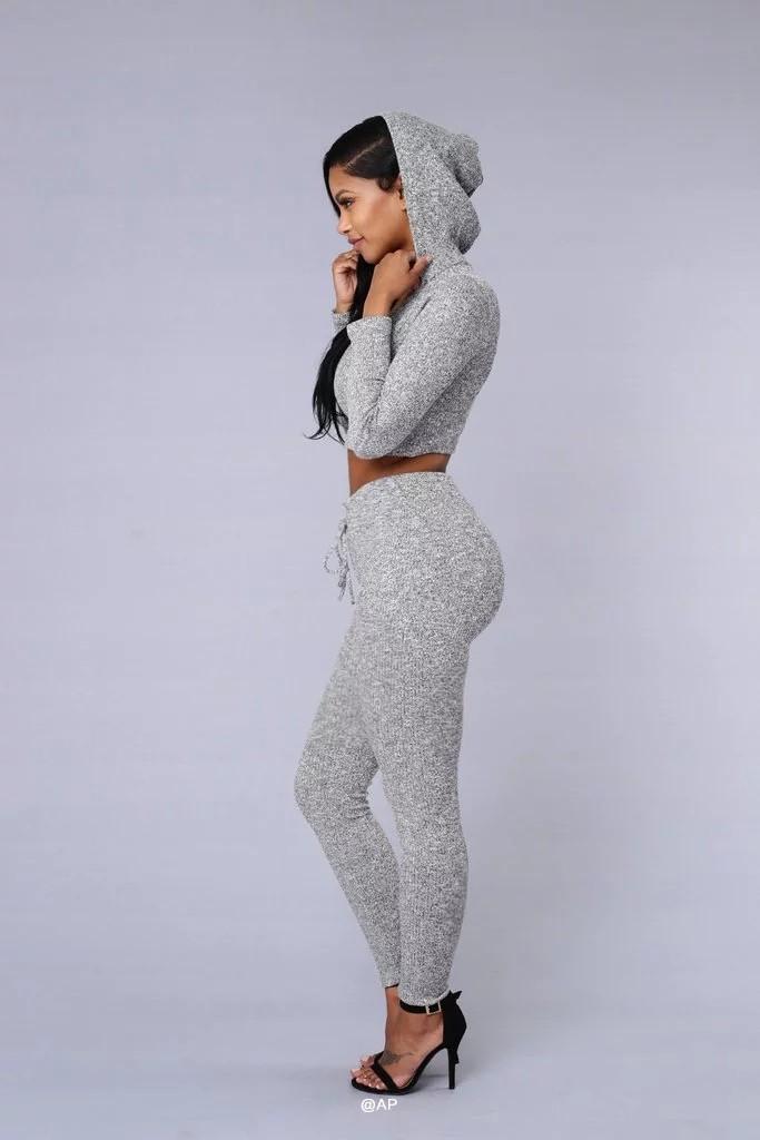 HTB1OVuTNFXXXXajaXXXq6xXFXXXK - Tracksuit Women Sexy Ribbed Hoodies Set Casual Long Sleeve JKP055