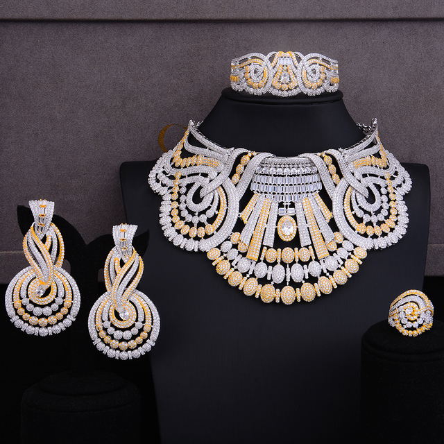 missvikki 4 PCS Noble Luxury Gorgeous Necklace Bangle Earrings Ring Jewelry Set for Bridal Actor Dancer Accessories Jewelry