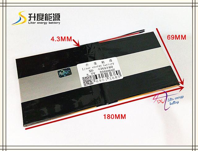 3.7 v 8000 mah sd 4369180 (íon de lítio polímero bateria/li-ion) para tablet pc, e-book, cubo, pipo, onda