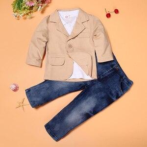 Image 2 - 3 adet güz çocuk beyefendi takım elbise ceket + beyaz uzun kollu T shirt + kot giyim seti için 3 4 5 6 7 8 yıl çocuk boys kıyafetler