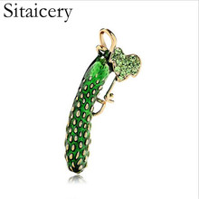 Sitaicery Green Cucumber Enamel Brooches For Women And Men Alloy Plants Banquet Party Brooch Gifts Badges Pins Women Accessories цена 2017
