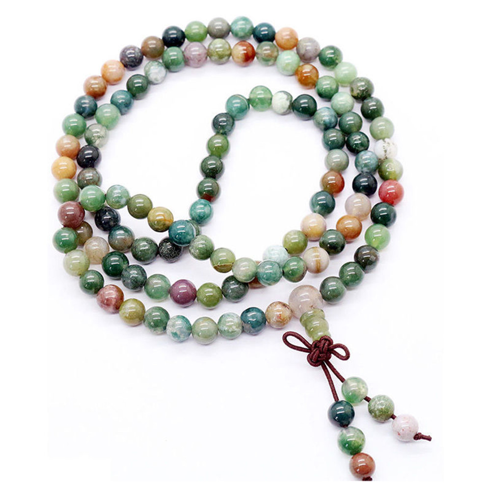 Colar de contas budista 2019, novo colar com strass, textura popular de 6mm 108, oração, tibetano, índia, mala, pulseira sem abençoas