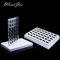 Portable Window Counter Top Rings Jewelry Display Tray Box with Platform White Acrylic Organizer Detachable Base Board 2in1set
