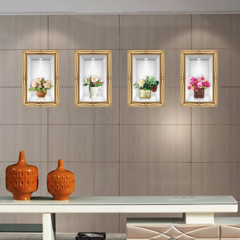 ᗗtiga Dimensi Vas Wall Sticker Diy Dekorasi Rumah Ruang Tamu