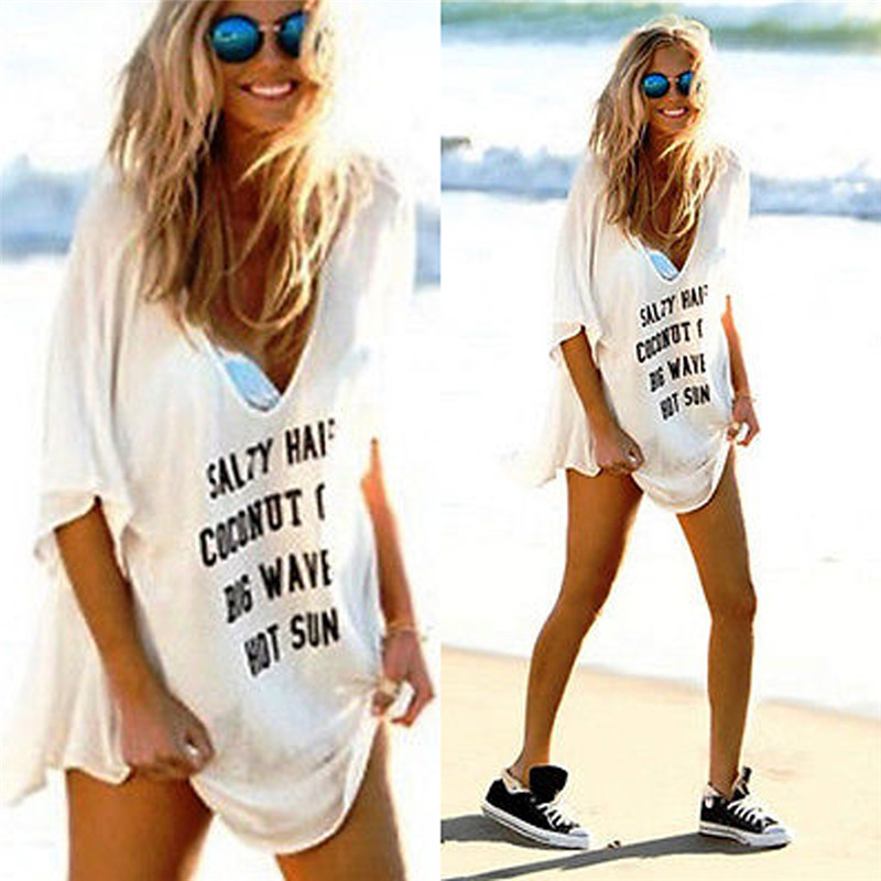56e267e36a2 2017 New Summer Women Long T Shirt Casual Loose Style Off White ...