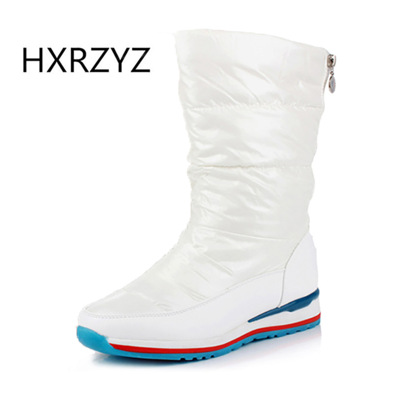 HXRZYZ Winter snow boots women down feather warm ankle boots hot new fashion female waterproof zipper rubber soles women shoes