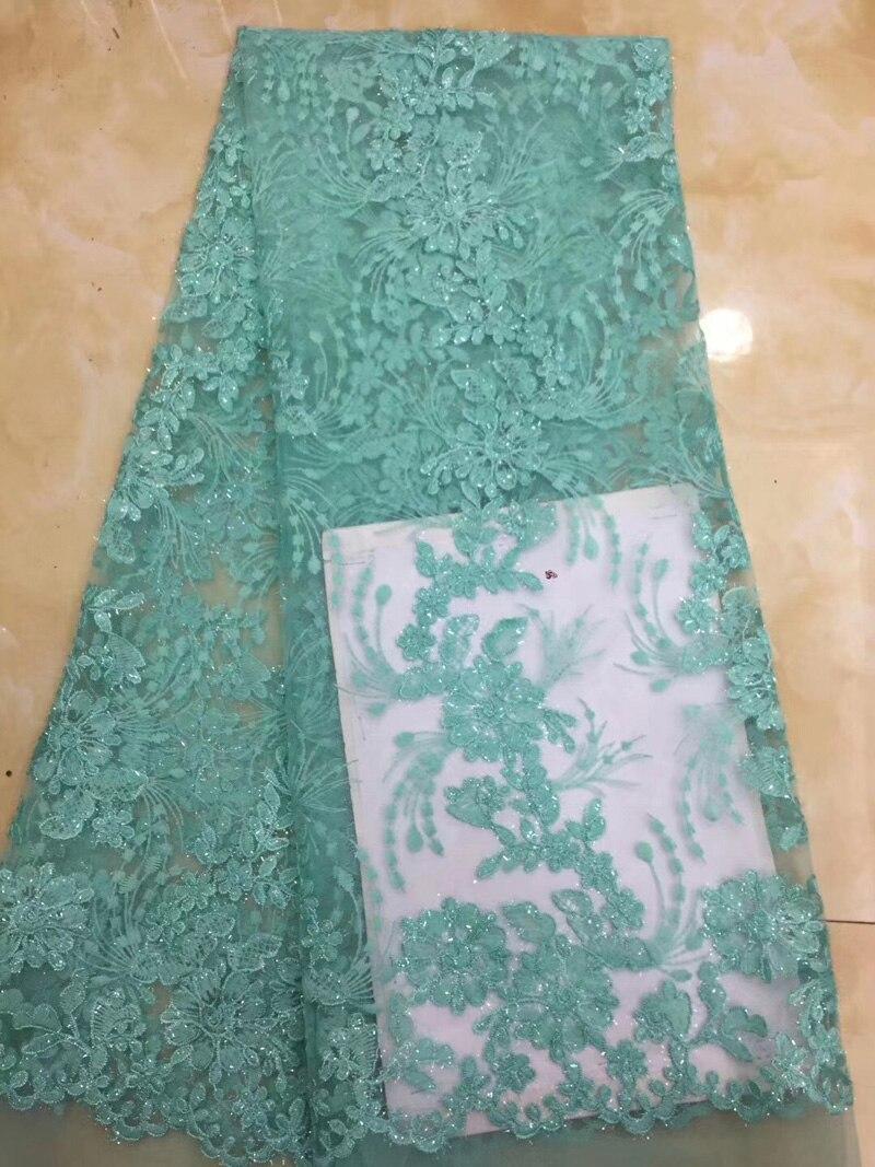 (5 yards/pc) fil brillant brodé africain français net dentelle tissu menthe vert tulle dentelle tissu pour robe de soirée FZZ129