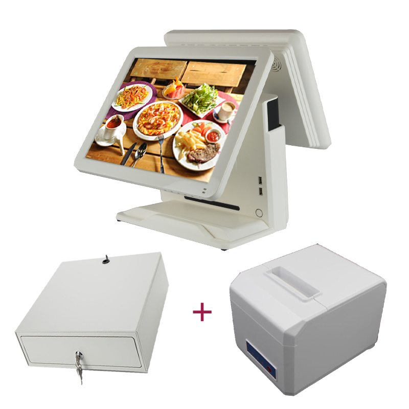 15 inch Supermarket pos system  pos all ine one cash register dual screen pos terminal with 80mm receipt printer cash drawer