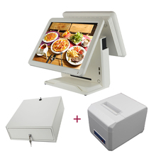 15 inch Grocery store pos system  pos all ine one money register twin display pos terminal with 80mm receipt printer money drawer