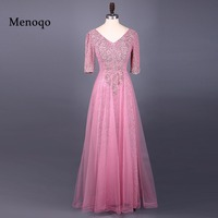 Menoqo 2017 Pink Mother Of The Bride Dresses Half Sleeves Appliques Women Formal Evening Party Gowns