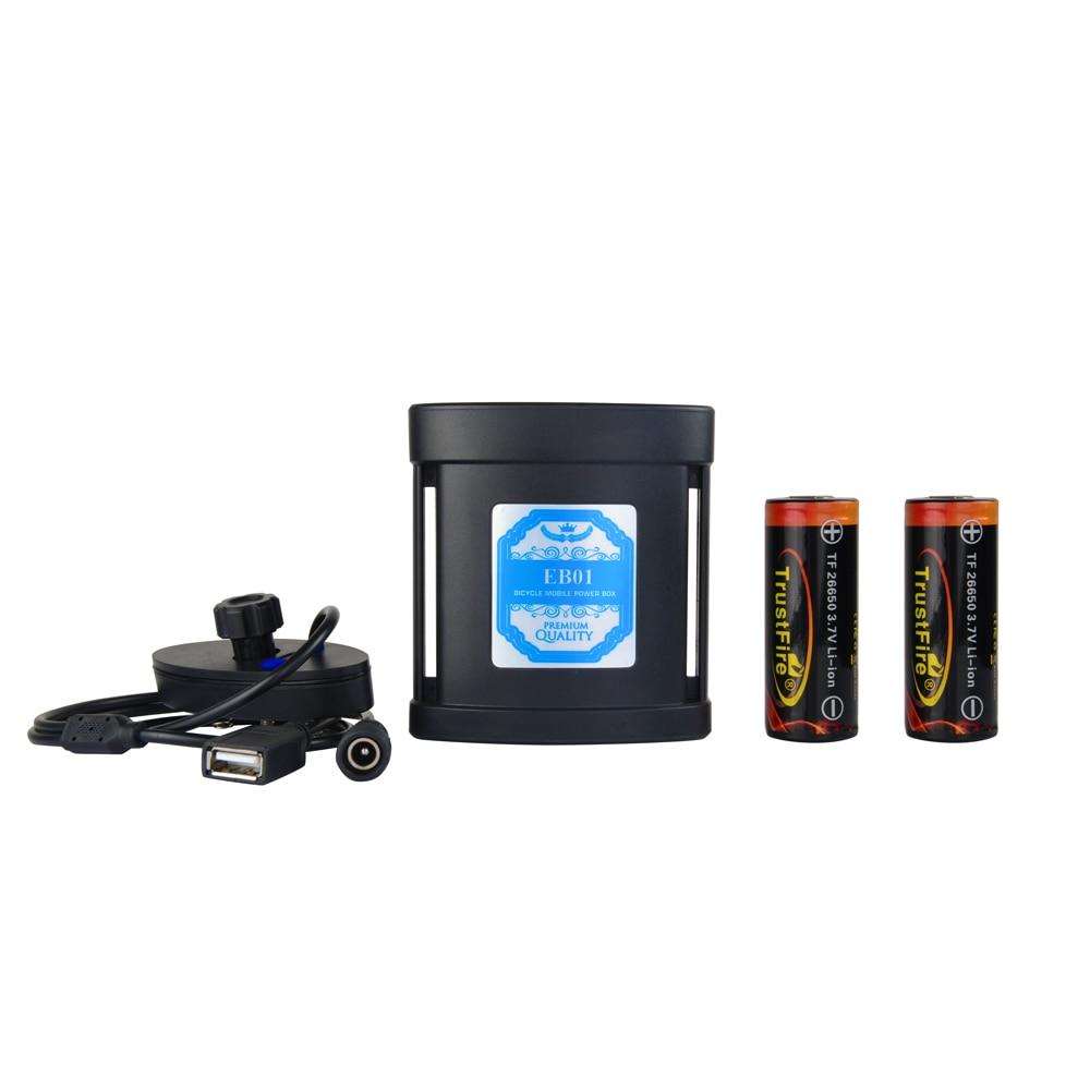 Imperméable à l'eau USB + DC 5 V 8.4 V 10000 mah 2x26550 vélo lumière batterie Pack boîtier externe batterie externe pour vélo lampe téléphone Mobile