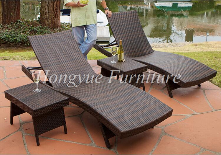 Brown Wicker Outdoor Lounge Chair Set With Corner Table Sale China