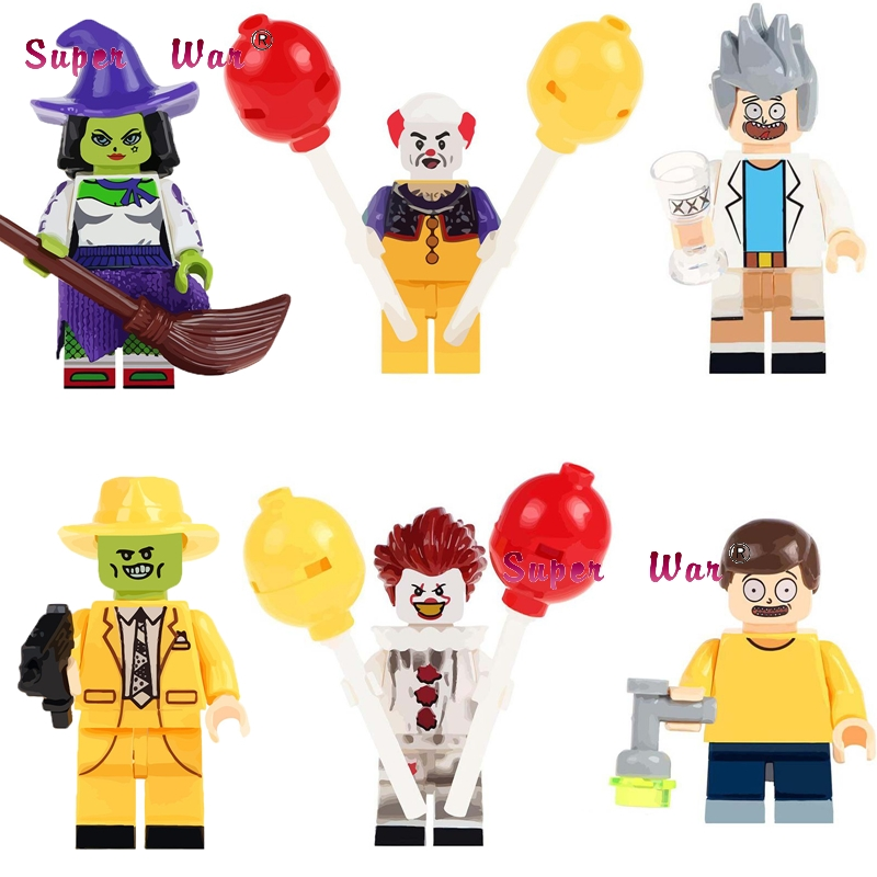 20pcs Witch the Mask Magical Comedy Movie TV Cahracter Halloween Pennywise Joker Rick Morty building blocks bricks classic toys