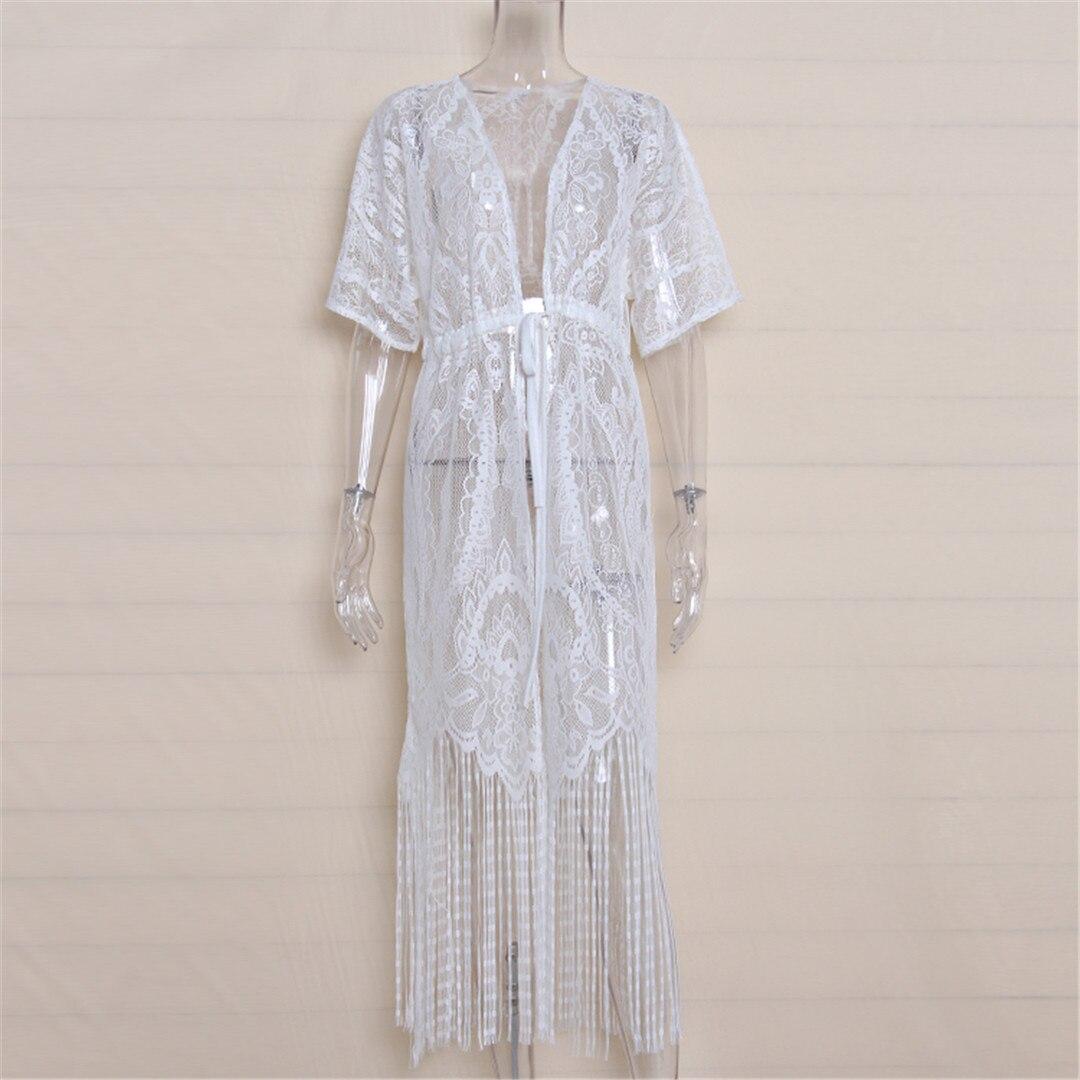 2018 New White Swimsuit Cover Up Summer Sexy Women Beachwear Cover Up Crochet Hollow Lace Tassel Bikini Bathing Suit K633