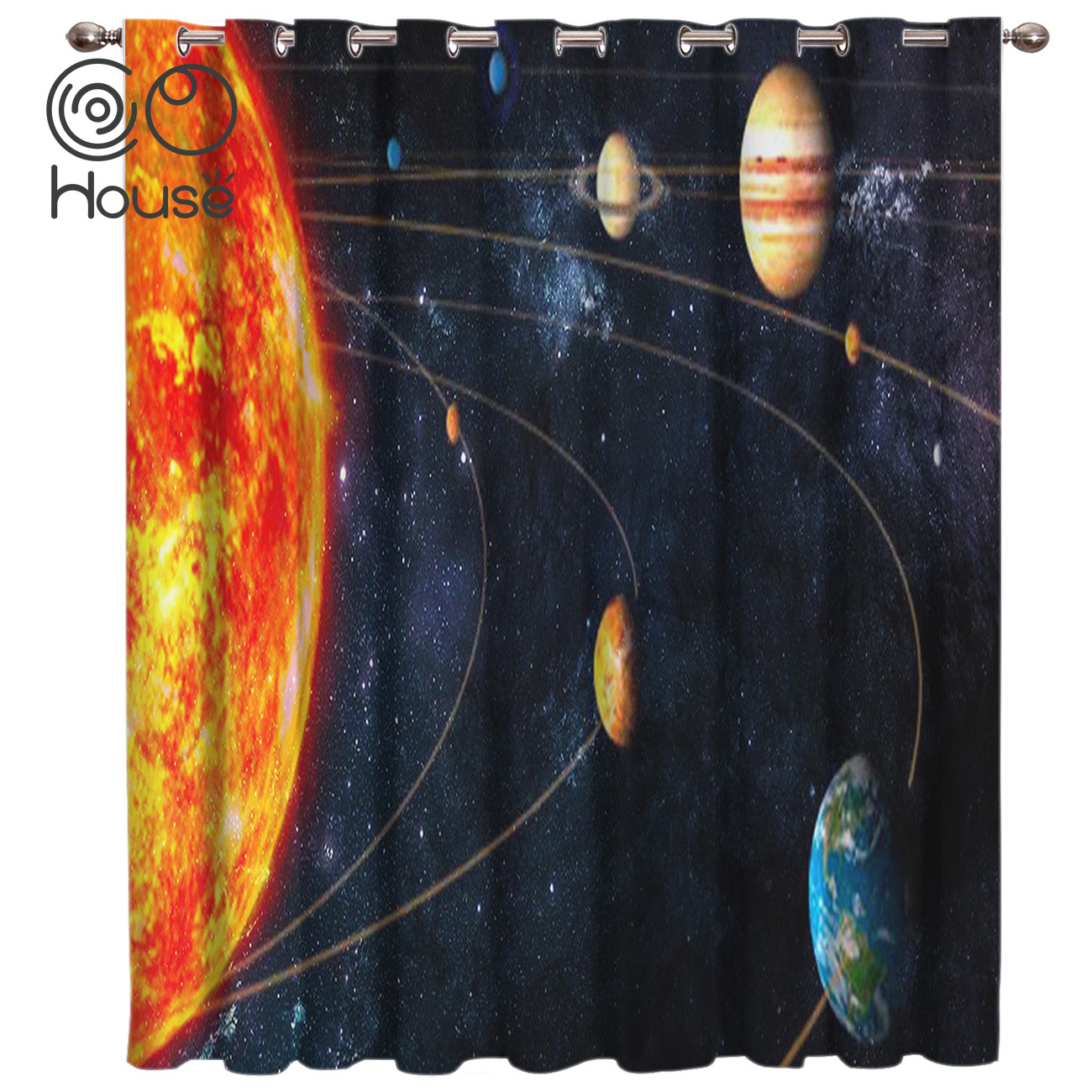 CoCoHouse Solar System Window Treatments Curtains Valance Curtain Lights Living Room Bathroom Outdoor Indoor Fabric Swag Window