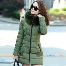 2016 новая зимняя куртка женщины полный рукавом slim женщины пуховики длинный зимняя куртка с капюшоном
