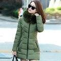 2016 novas mulheres jaqueta de inverno completo manga slim mulheres jaquetas longo inverno jaqueta com capuz