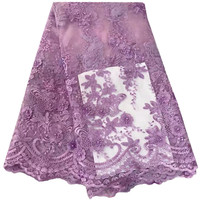 African Pearls Lace Fabric 2018 Embroidered Nigerian Laces Fabric Purple High Quality French Tulle Lace Fabric