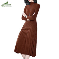 Boutique Autumn Winter New Long Sweater Sexy Fashion Knee High End Slim Collar Turtleneck Long Sleeves