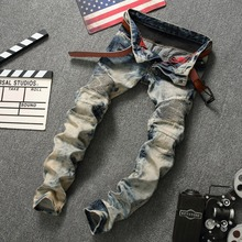 2017 retro nostalgia male jeans Fold cultivate one's morality pants