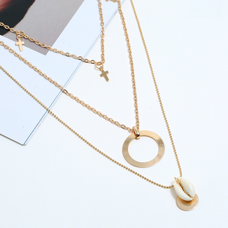 Bohopan Elegant Three layer Hollow Round Pendant Necklace Women Simple Shell Neck Chain Fashion Exquisite Clothes Accessories in Pendant Necklaces from Jewelry Accessories