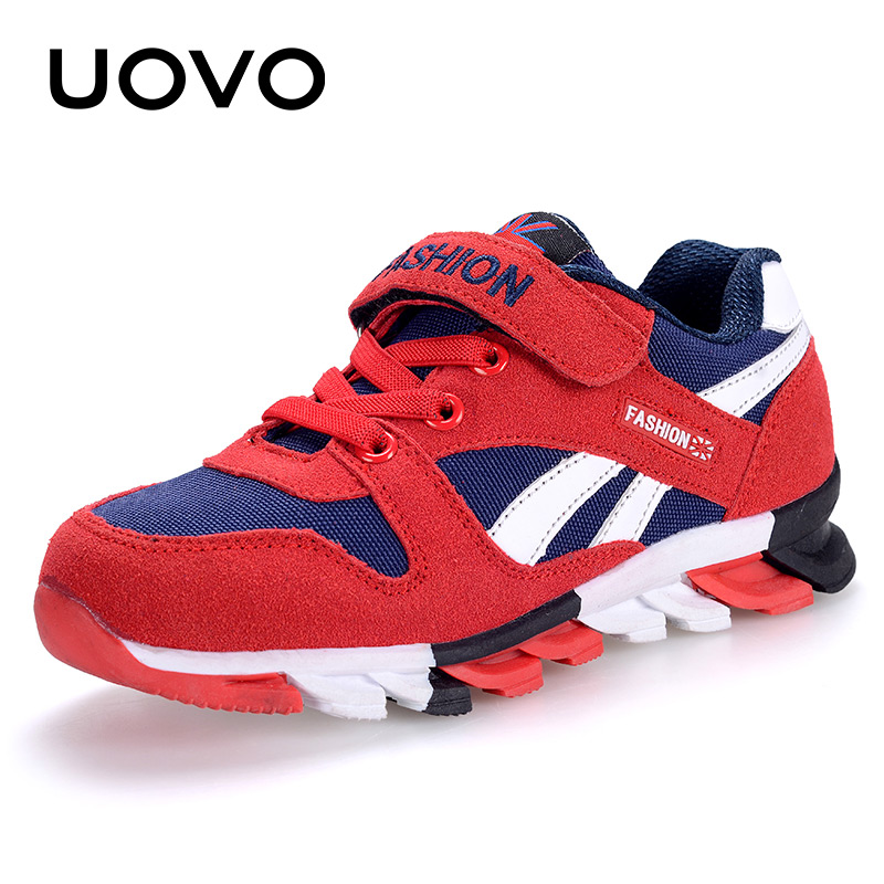 UOVO Spring Autumn Boys Sneakers Children Shoes Canvas Man-made Suede Kids Running Shoes Fashion Kids Sport Footwear Size 29-37# 3 8 pneumatic one way design air flow control valve re 03