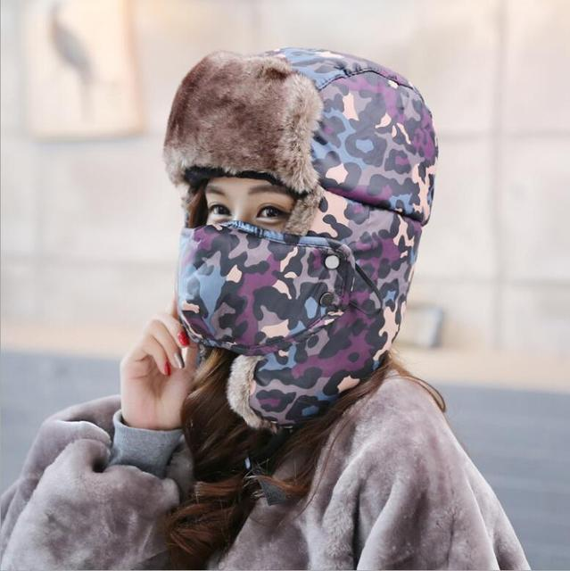 54198e7f99 High Quality Women Warm Winter Earflap Cap Fashion Printed Deer Russian Trapper  Hat Ladies Knitted Fur Aviator Bomber Hat