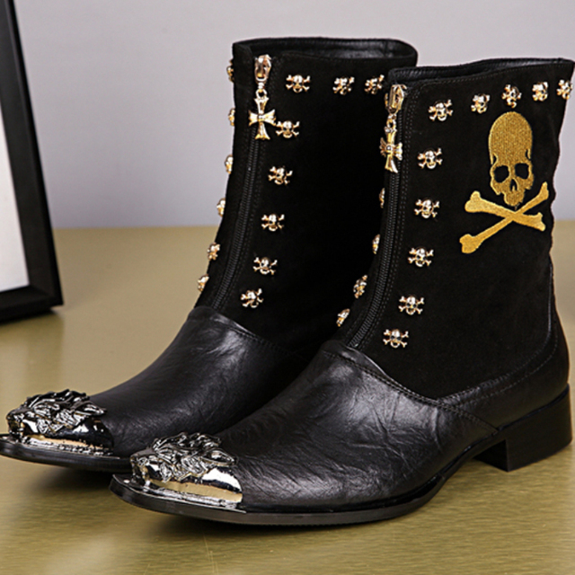 Autumn Winter Genuine Leather Men Dress Boots Skull Rivets Men Mid