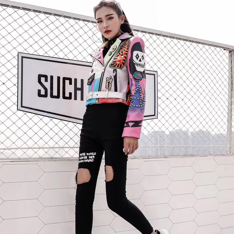LORDXX Cropped Leather Jackets Women Hip hop Colorful Studded Coat New Spring Ladies Motorcycle Punk Cropped Jacket with belt 6