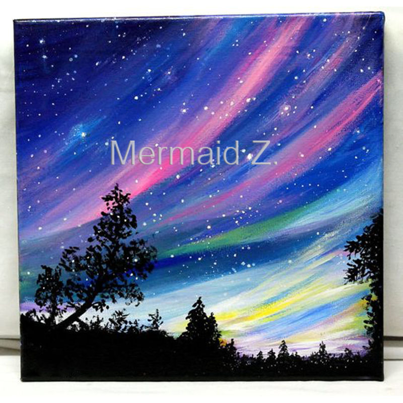 ᗑhand-painted abstract oil painting Northern Lights acrylic ...