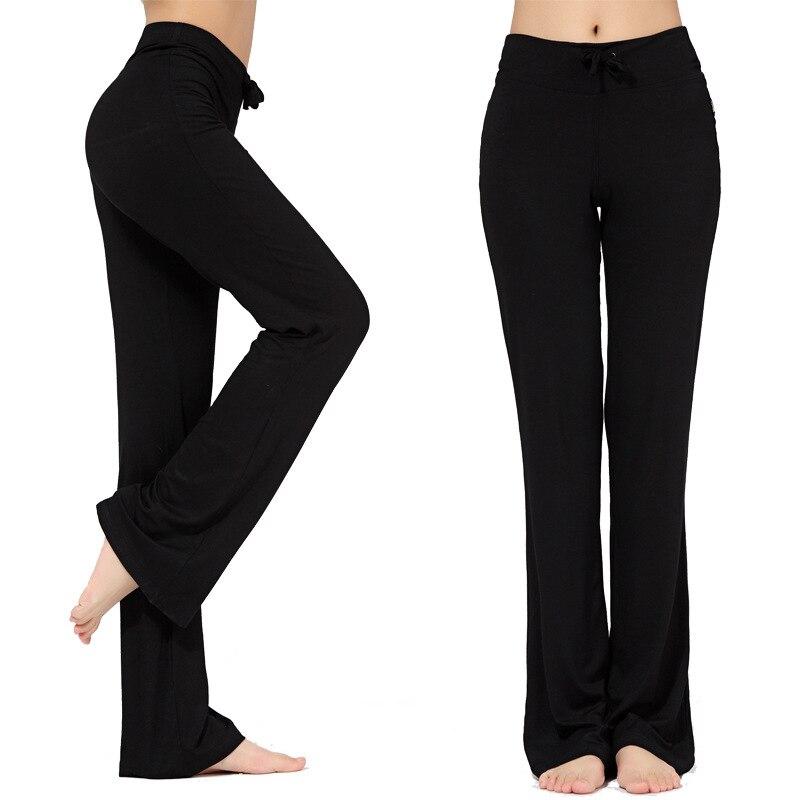 Sport Wide Leg Pants Modal High Waist Stretch Women Flare Pants Dance Club Loose Long Trousers S-4XL (3)