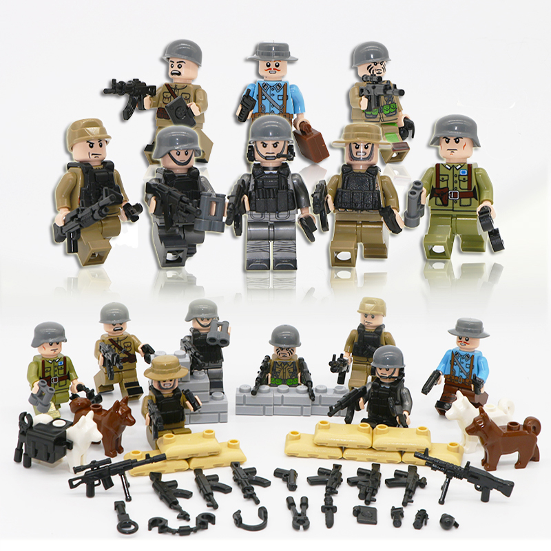 2018 Military CS Commando Soldiers LegoINGlys Action Figures With Weapons City Swat Army Sets WW2 Guns Blocks Toys World War II military city police swat team army soldiers with weapons ww2 building blocks toys for children gift