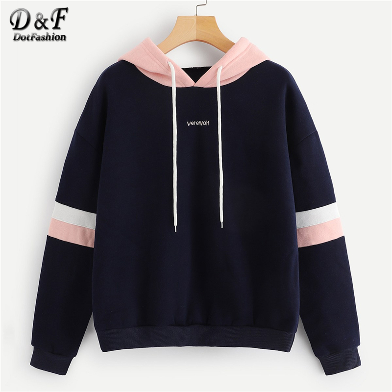 Dotfashion Navy Colorblock Striped Drawstring Hoodie Women Clothes 2019 Autumn Casual Long Sleeve Womens Sweatshirt Pullovers