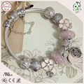 Good Quality Romantic Light Pink Series 100% 925 Real Silver  Bracelet With Different Silver Flower Design Charms