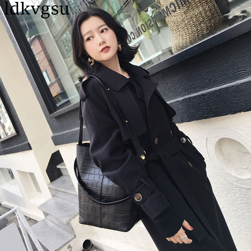 2019 New Black Windbreaker Female Spring Autumn Long section Double-breasted Tie Chic   Trench   Coats for Women Outerwear V241